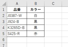 この表で、品番を元に 白・黒・赤 の3つのカラーを表示します